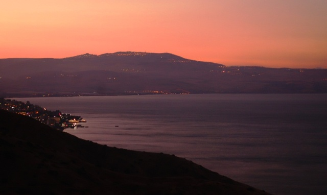Sea of Galilee, Sunset, Poria Youth Hostel, Red Sky