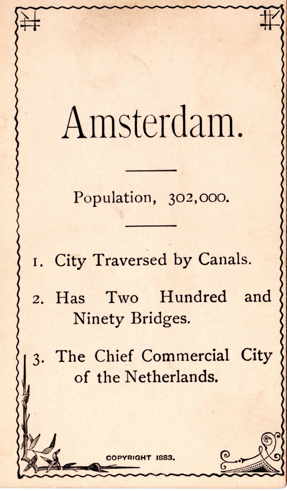 Early Flash Cards, Geography Cards, Amsterdam