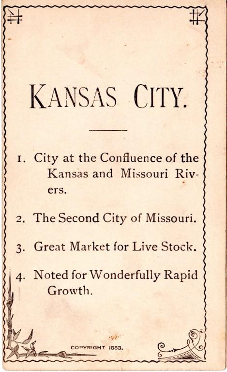 Kansas City, Missouri, Geography Card, 1883, Flash Card