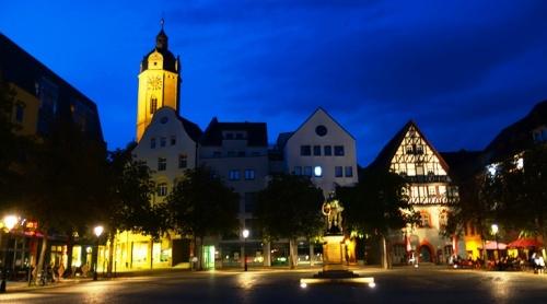 Jena Market Place, Night Pictures, St. Michaels Church, Jena, Germany