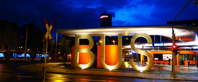 Bus Depot at night, Jena, Germany,  Bus, Rainy night