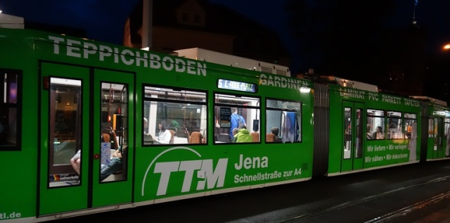 Jena, Germany, Strassenbahn, Street Train, Colorful train cars, Rainy night