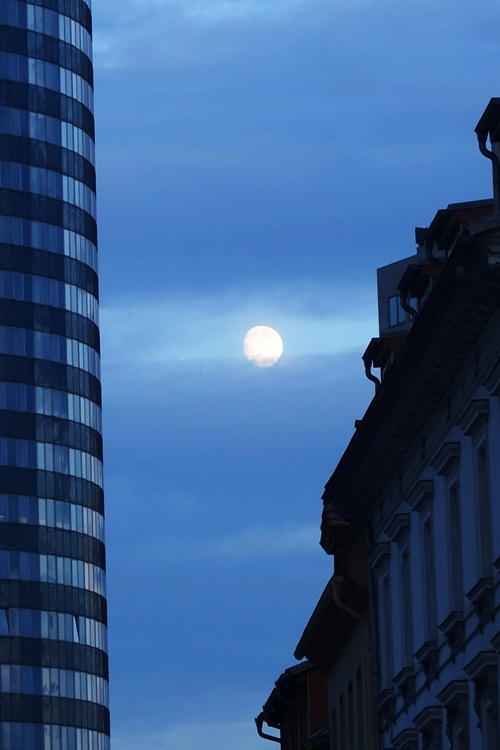 Full Moon, Jena, Germany, Intershop Tower, Wagnergasse