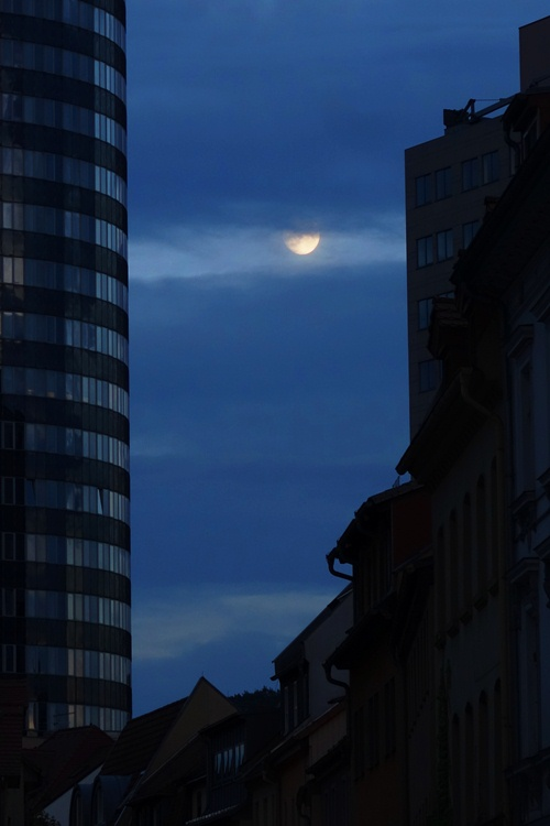 Jena, Germany, Full Moon, Super Moon, Intershop Tower, Wagnergasse