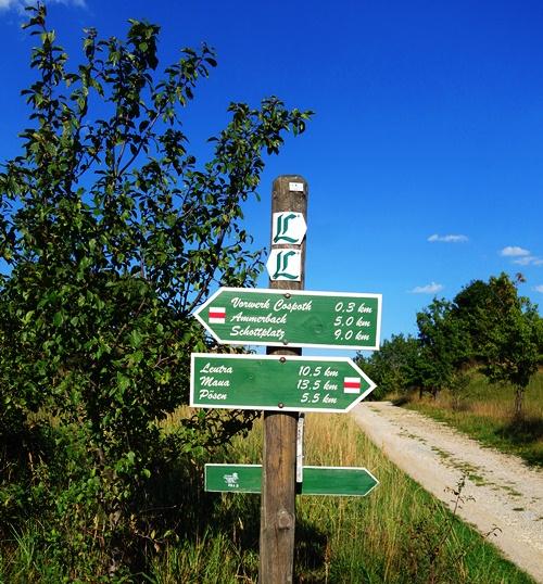 Trail signs, Wanderweg, Jena, Germany, Ammerbach, Leutra, Lutherweg
