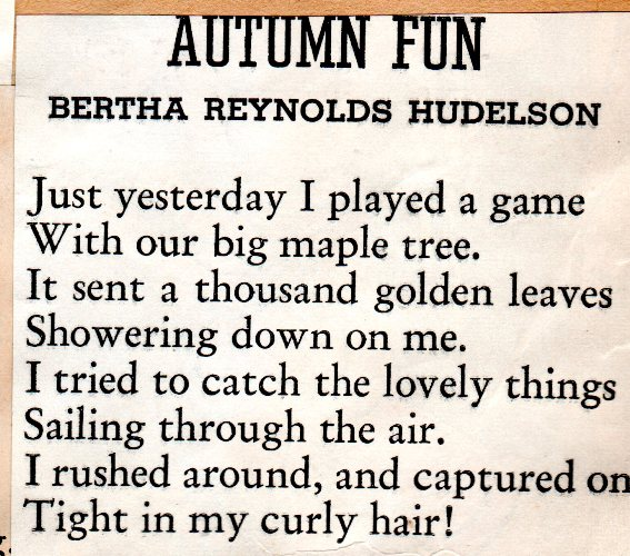 Bertha Reynolds Hudelson, Autumn Fun, Poetry, Autumn Poems