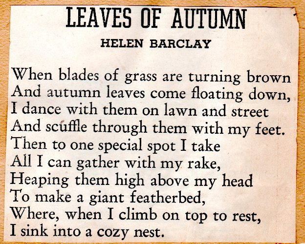 Helen Barclay, Leaves of Autumn, Poetry, Autumn Poems