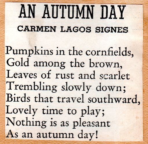 Carmen lagos Signes, An Autumn Day, Poetry, Autumn Poems, Fall Poems