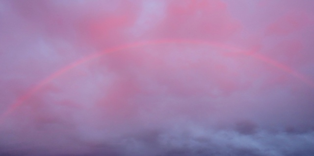 Rainbow at Sunset, Rainbow, Pink Rainbow, Water Droplets, Rain