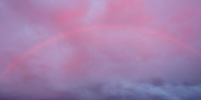 Rainbow at Sunset, Rainbow, Pink Rainbow, Water Droplets, Rain