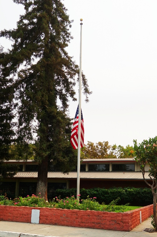 Flag at Half-Staff, Tracy, Library, Patriot Day, September 11