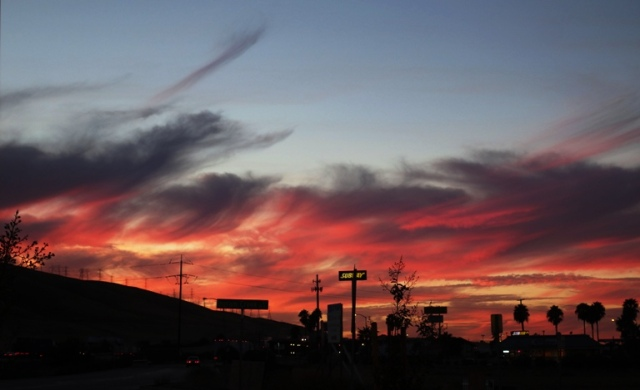 Westley California, Sunset, Red Sky, Colorful Sky, Harvest Sunset