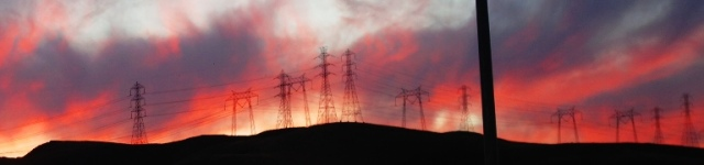 power lines, Power Towers, sunset, silhouette.