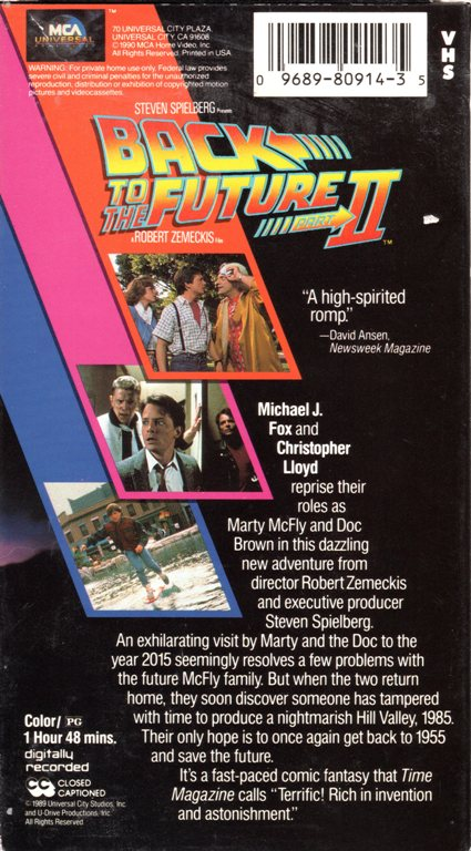 VHS, Back to the Future II, Future, Marty McFly, Michael J. Fox