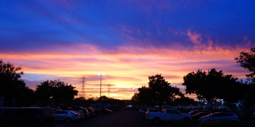 Sunset from the mall, Colorful Sky, Tracy, California
