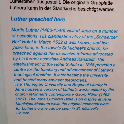 Luther Preached Here, St. Michael, Jena, Germany