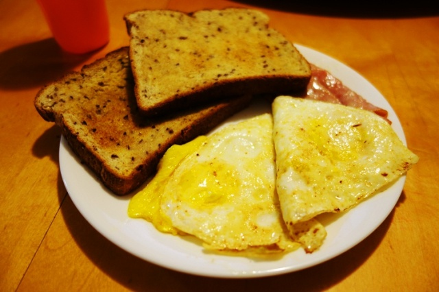 Sunday Breakfast, Eggs, Ham, Toast