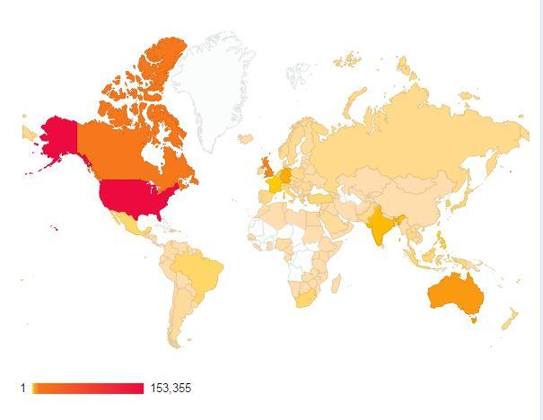 Blog Views, Map of Blog Views, Blog Stats, World Map