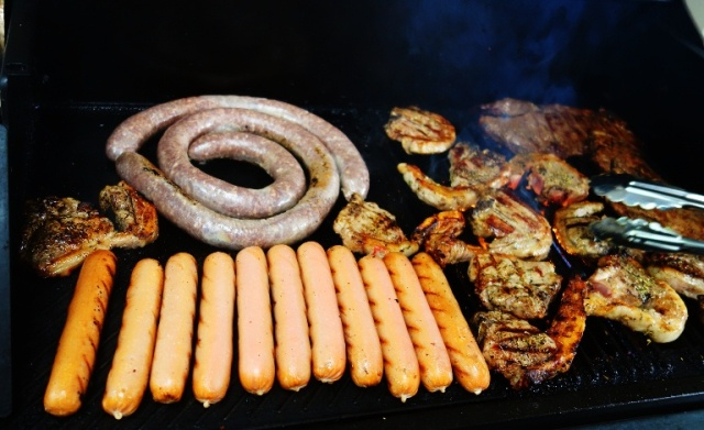 Braai, sausage, steak, chops, hot dogs