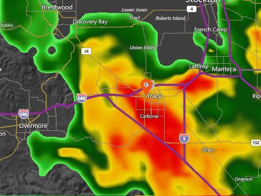 Tracy, California, Rain, Thunderstorm, Radar
