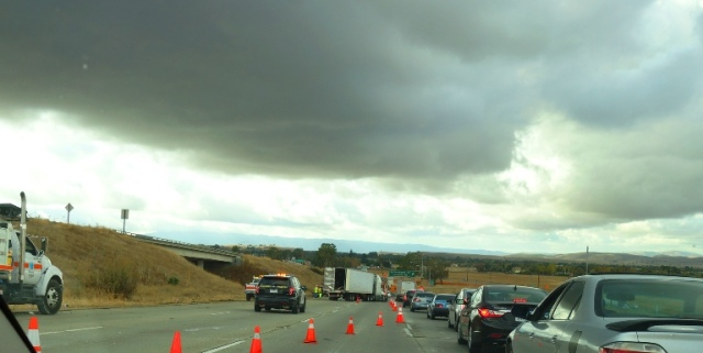 Overturned Big-Rig, Altamont, Worst Commute, Rainy Weather Traffic
