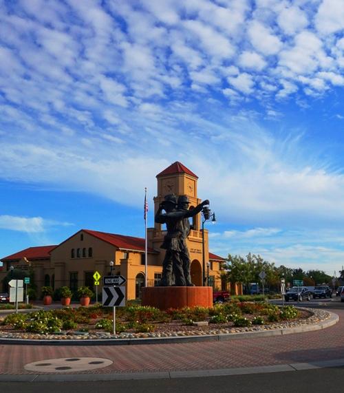 Harvest of Progress, Large Statue, Tracy, California, Railman, Farmer