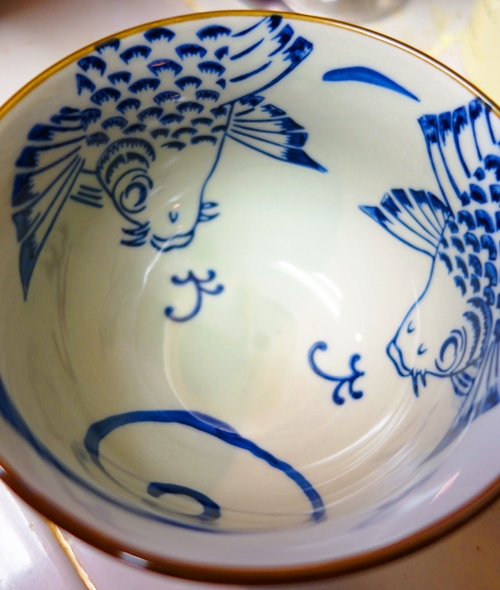 Rice Bowl, Oriental Bowl, Dishes, Gray and Blue