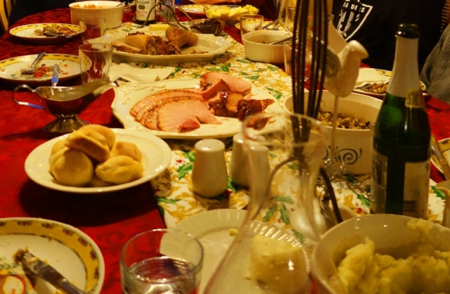 Christmas Feast, Food, Ham, Turkey, Potatoes, Stuffing