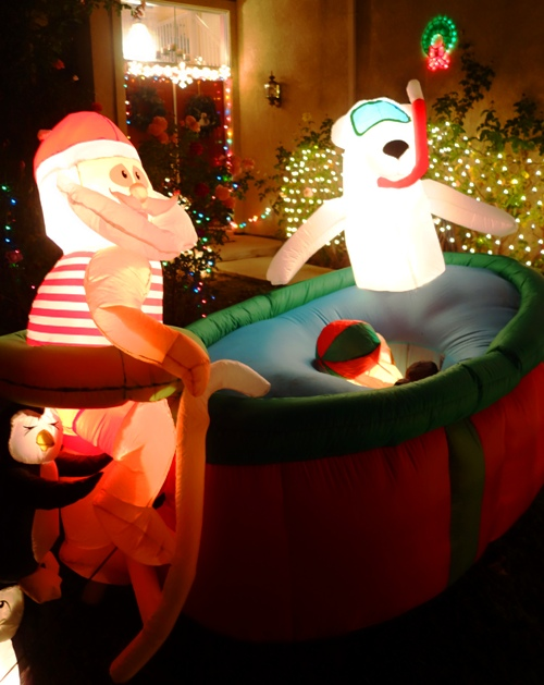 Santa, Hot Tub, Blow up decorations