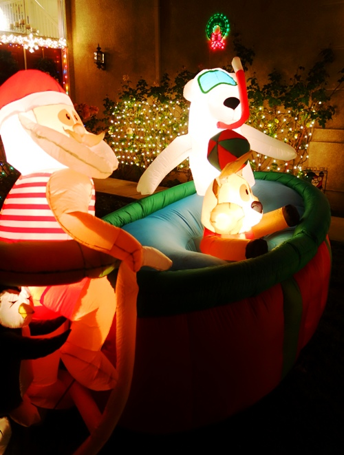 Santa, Hot Tub, Pool, Rudolph, Polar Bear