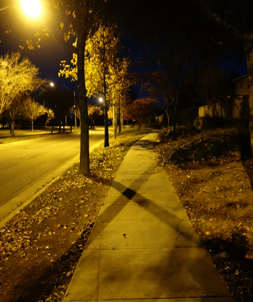 Evening Walk, Shadows, Street lights