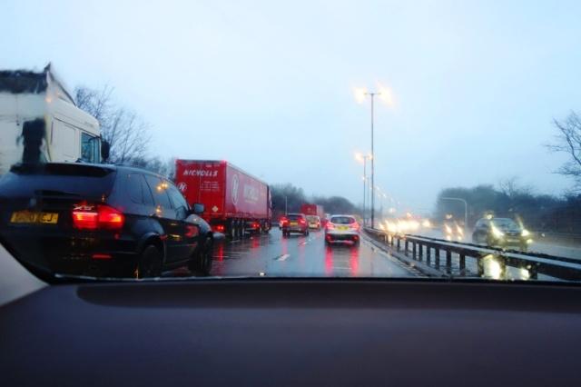 Birmingham, England, Rainy Day, Traffic