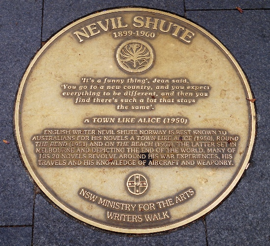 Nevil Shute, Sydney Writers Walk, A Town Called Alice, Literature