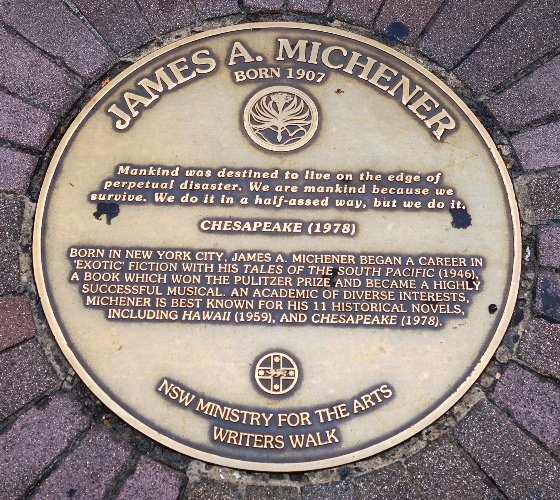 James Michener, South Pacific, Sydney Writers Walk, Australia