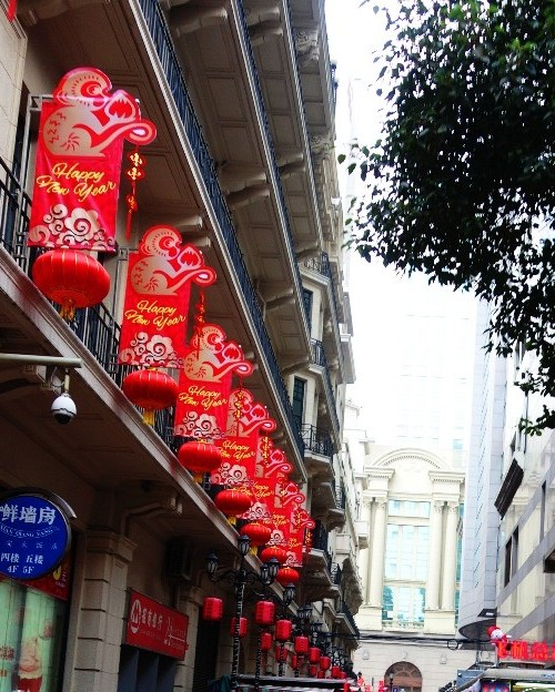 Chinese New Year Lanterns, Red Lanterns, Nanjing Road, Holidays