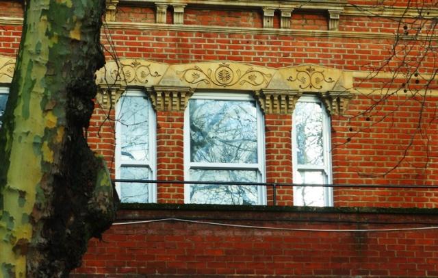 Interesting Architecture, Ornate windows, brick, architecture, London, Suburbs