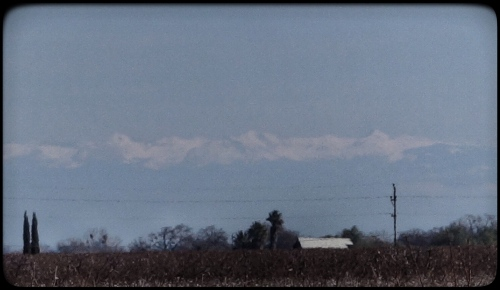 Snow Pack on Sierras, Clear Day, Central Valley, Sierras