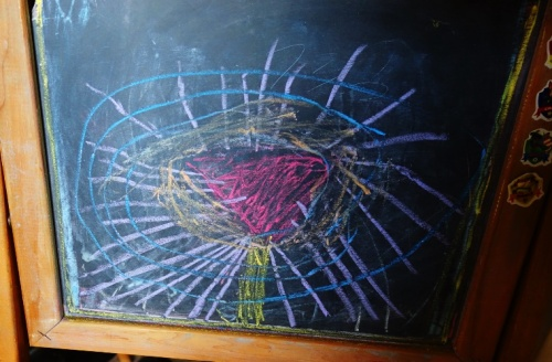 Chalk Drawing, chalk board, colorful drawing