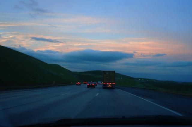 Altamont, Backset, sunset, storm clouds, California, green hills
