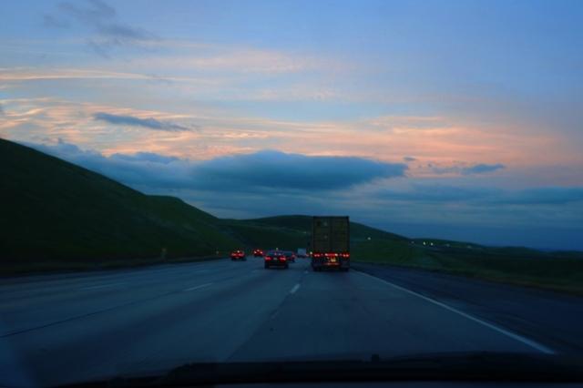 Altamont, Backset, sunset, storm clouds, California, green hills