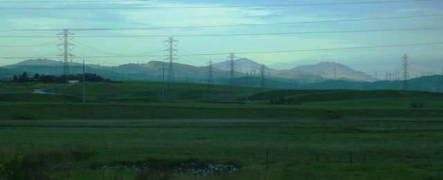 Mt. Diablo, Tracy, California, rainy day, fog, power lines