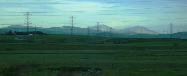 Mt. Diablo, Tracy, California, rainy day, fog, power lines