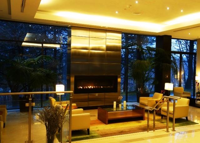 Fireplace, Westin Prince, Toronto, Rainy Day