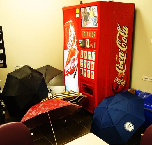 Umbrellas, Rainy Day, Toronto Rain, Coke Machine
