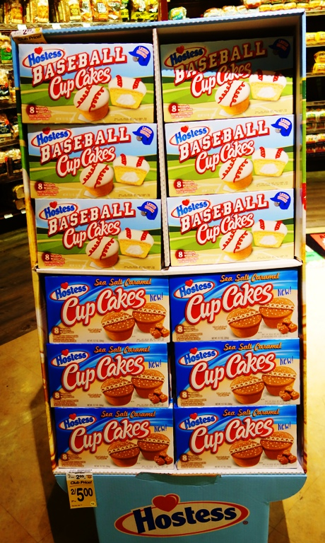 Hostess Cake Display, Grocery Store, Snack Cakes, Baseball CupCakes