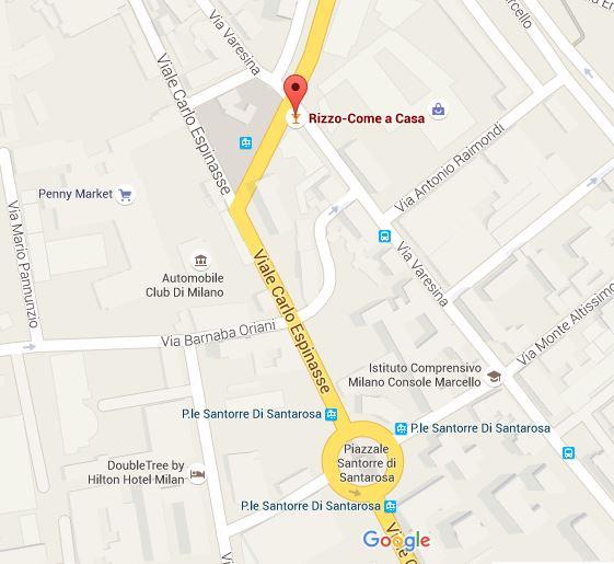 Milan Restaurant, Google Map, Rizzo - Come a Casa