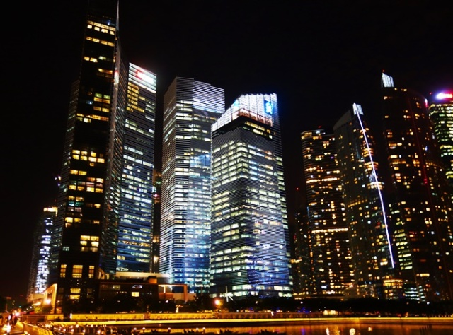 Marina Bay, Skyscrapers, Singapore, Night Views