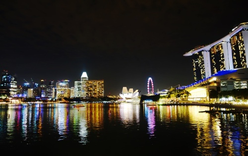 Marina Bay, Singapore, Night View, Singapore Flyer, Sands Marina Bay