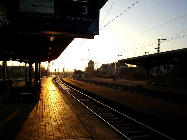 Sunrise at the station, weimar, germany