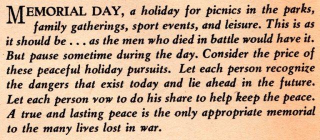 Memorial Day, Demoines Register, 1958